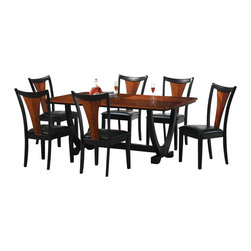 Coaster - Coaster 102090 Boyer Contemporary Two Tone Black And Cherry Dining Set, 7pc with - Item Description: