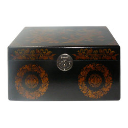 Golden Lotus - Chinese Black Phoenix Dragon Rectangular Storage Box - This jewelry / storage accent box is modified from the traditional Chinese box. It is made of cardboard paper and covered with artificial leather.