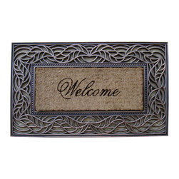 "A1 Home Collections - Rubber And Coir Tray Mat ""Welcome"" Design - This charming mat is durable and has thousands of coir bristles embedded in a rubber base that help capture and remove dirt and moisture from shoes. This mat is an excellent addition to your home."