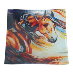 WL - Square Dinner Plate Dishware with Wild Wind Stallion Horse Design - This gorgeous Square Dinner Plate Dishware with Wild Wind Stallion Horse Design  has the finest details and highest quality you will find anywhere! Square Dinner Plate Dishware with Wild Wind Stallion Horse Design  is truly remarkable.