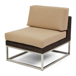 Caluco - Mirabella Middle Sectional - The Mirabella Middle Sectional combines style, durability, and comfort to provide unmatched value in outdoor seating.  Pictured in the dark java wicker with stainless steel finish.