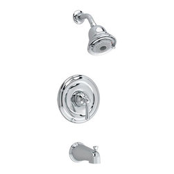 American Standard - American Standard Portsmouth T420.502 Bath/Shower Trim Kit - 513234 - Shop for Shower Hardware from Hayneedle.com! Simply charming the American Standard Portsmouth T420.502 Tub and Shower Faucet Set has that inspired classic style that you will adore. This kit is available in your choice of finish to fit your bathroom's decor. The shower head has three distinct spray patterns to suit your needs. Easily switch between bath and shower by lifting the diverter tab on the spout. This set is made to endure from solid brass. Product Specifications Low Lead Compliant: Yes Eco Friendly: Yes Made in the USA Yes Handle Style: Knob Valve Type: Ceramic Disc Flow Rate (GPM): 2.5 and 6 Spout Height: 74 and 4 inches Spout Reach: 8.5 and 5.13 inches About American StandardIt all begins with an unmatched legacy of quality and innovation for more than 130 years. This tradition has put American Standard in three out of five homes in America plus countless hotels airports and stadiums. They provide the style and performance that fit perfectly into your life wherever that may be.