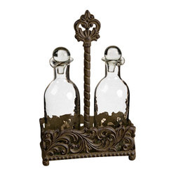 "GG Collection - GG Collection Oil and Vinegar Set - Oil and Vinegar Set, Acanthus Leaf Collection, 8.5""L x 3.75""W x 13""H, Glass is dishwasher safe, handwash metal with mild soap and dry with soft cloth"