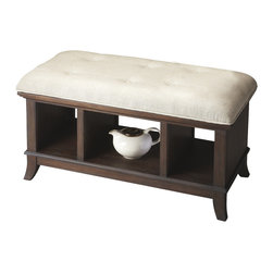 Butler Furniture - Cocoa Storage Bench - This casual transitional storage bench is a great addition in virtually any space. Expertly crafted from mindy hardwood solids, it features a button-tufted, cotton seat and three convenient storage cubbies beneath in a decadent Cocoa finish.