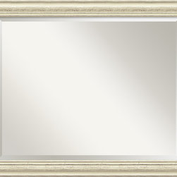 Amanti Art - Country Whitewash Wall Mirror - This mirror features a lovely cream colored frame with a distressed, weathered finish and is perfect for a casual, shabby-chic decor.