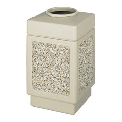 "Safco - Safco Canmeleon Aggregate Panel 38-Gallon Trash Can with Open Top in Beige - Safco - Office Receptacles - 9471TN - Looking for a receptacle that blends in with any environment? The striking molded-in stone aggregate will add beauty to your ""First Impression"" areas. Molded from high density polyethylene with built-in UV inhibitors. The telescoping base hides bag and it has an attractive design with recessed bottom. 38-gallon capacity; uses standard 32"" x 44"" trash bags. Easily adaptable for anchoring or weighting devices. Perfect for outdoor or industrial areas."