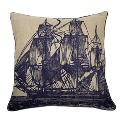 """Thomas Paul - Thomas Paul Seafarer Sail Jute Pillow - Packed with charm, Thomas Paul's collection of throw pillows adds eclectic style to a sofa, chair or bed. Jute offers a modern background with rustic texture for the Seafarer's vintage-inspired sailboat illustration. 22"""" Sq; 100% jute; Navy design and piping trim; Includes feather insert; Hand screened."""