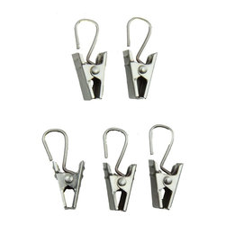 """Rod Desyne - 24 Clips with Hooks in Satin Nickel - Rod Desyne Decorative Drapery Hardware is an excellent finishing touch to your room decor. These clip hooks are perfect for hooking into curtain track carriers and over wire.; Set of 24; Material: Metal; Color: Satin Nickel; Weight: 0.12 lbs; Dimensions: 1.5""""H x 0.5""""W x 0.5""""D"""