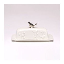 beehive Kitchenware | Laurel Butter Dish - Inspired by natural beauty and modern design, the Laurel collection is designed to be as practical as it is beautiful. A great gift idea for newlyweds and new home owners!  Each handcrafted stoneware piece is high-fired for durability and is microwave and dishwasher safe. Matte white with pewter bird finial.  Measures 9 x 5 x 3.5 inches.  |  Designer Information : Since 1999, Beehive Kitchenware's Sandra Bonazoli and Jim Dowd have been crafting lead free pewter metal kitchenware and homegoods by hand. Armed with multiple degrees in jewelry design and a love of working together as a team, they create their wares in a Massachusetts studio using traditional metal smithing techniques, antique tools, and hand cast parts. Durable, distinct, and stylish - each handmade serving piece is designed to be a treasured object to be handed down for generations.
