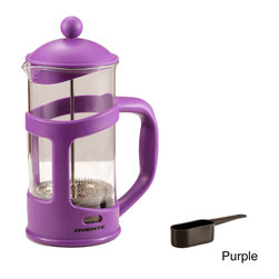 Ovente - Ovente Series 34-ounce French Press - This simple, attractive and functional French press is composed of a durable, heat-resistant borosilicate glass beaker and a plastic handle and base. The plunger and fine mesh filter provide a premium extraction of coffee's oils and flavors.