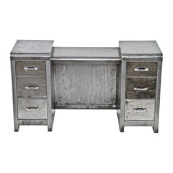Simmon's Vintage Metal Furniture - Late 1930's american vintage industrial brushed cold-rolled steel vanity or lowboy with opposed multi-drawer units and center console.