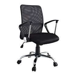 Modway Furniture - Modway Pilot Office Chair in Black - Office Chair in Black belongs to Pilot Collection by Modway Steer your way to a simple yet affordable seating experience. With a mesh screen back and padded seat and fashionably rounded dual-toned arms, save money while gliding your way into work each day. Pilot comes with lumbar support, pneumatic height adjustment, a black nylon base, dual wheel carpet casters and a full 360 degree swivel. Set Includes: One - Pilot Breathable Mesh Task Swivel Office Chair Officce Chair (1)