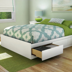 """South Shore - Step One Full Storage Platform Bed - The South Shore's stylish and family-friendly furniture is made of laminated engineered wood, which gives it great strength and durability. They use wood panels entirely made from recovered and recycled material. While they do their share to preserve the environment by conserving our forests, South Shore Industries makes no compromise when it comes to quality and product durability. These quality products are designed for easy maintenance and offered at very competitive prices. Add grace and style to your bedroom with Step One. This elegant collection combines minimalist lines and sober metal handles with a rich finish to give your room a modern and sophisticated feel. The kick plates add an accent of modernity and a touch of sophistication with their slightly curved lines, and the simple metal handles contrast with the finish, highlighting the collection's original and casual look. This practical mates bed is a great value for your money as it does not require any box spring. Its handle-free drawer fronts feature simple cut-outs for easy opening and provide a perfect fit with our previous bedroom collections no matter the style. This convenient Full 54-inch mate's bed can be combined with all South Shore's collections. It is reversible so the drawers can be placed on either side and its weight capacity is 500 pounds. Features: -Step One collection. -Recycled CARB compliant laminated particle board construction. -Made of non-toxic materials and components. -Drawers opened easily without the need for handles thanks to the cut-out at bottom of the drawer fronts. -Features 3 practical drawers (all on the same side). -Supports up to maximum weight of 500 lbs. -No box spring required. -Equipped with polymer glides include dampers and catches. -Manufacturer provides 5 year warranty against furniture defects or workmanship. -Interior drawer dimensions: 22.5"""" W x 18.5"""" D. -Overall Dimensions: 14"""" H x 56"""" W x 76"""" D. Protecti"""