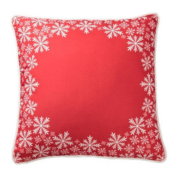 Lava - Snowflake Border Red 18 x 18 Pillow (Indoor/Outdoor) - 100% polyester cover and fill. Suitable for use indoors or out. Made in USA. Spot clean only