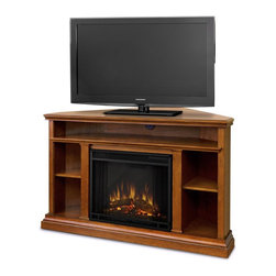 "Real Flame - Churchill Electric Fireplace in Oak - Solid wood and veneered MDF construction.. Includes: MDF mantel, firebox, hand painted cast concrete log ,screen kit and remote control. The hidden LED display shows the settings as they are changed from either the control panel or the slim profile remote. Features a programmable thermostat to provide precise heating in Celsius or Fahrenheit, timed shut off, dynamic embers. Requires open. Programmable thermostat with display in Fahrenheit or Celsius. Ultra Bright LED technology with 5 brightness settings. Digital readout display with up to 9 hours timed shut off. Dynamic ember effect. 50.75 in. W x 30.5 in. D x 33.125 in. H (121 lbs.). Firebox measures 23 in. W x 20 in H.This corner fitting TV mantel, is sure to become the family room centerpiece. With ample storage for A/V components, media, decor and more, the Churchill is the functional fireplace alternative to any TV stand. It's 33"" height puts the television at a comfortable viewing level while thoughtful trim adds interest and detail. 1400 Watts. 4780 BTU's/hr."