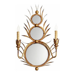 Hollywood Glamour Gold 3 Mirror Kingston Wall Mount Sconce - *Kingston Wall Mount