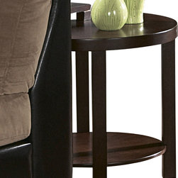 Homelegance - Homelegance Brussel II Round Wood End Table in Brown Cherry - Extra seating is never a problem with the functional Brussel II collection. The 4 stools tuck neatly under The cocktail table when not in use.