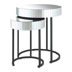 Office Star - Office Star Krystal 2-Piece Round Mirror Nesting Tables - Office Star - Nesting Tables - KRY192A - OSP Designs krystal round mirror accent table with metal legs fully assembled. This krystalized nesting tables gives a beautiful, elegant look for any bedroom or living room. Featuring a glass surface top and steel contrasted legs and frame.