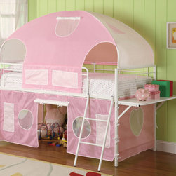 Coaster - 460202 Girls Tent Bunk Bed - Sleep and playtime just got more enjoyable with this tent style loft bunk bed. This group is manufactured from metal and finished in a gloss white. Additional shelf on the end for additional functionality. Pink fabric is included, some assembly is required.