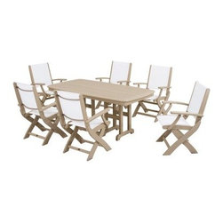 POLYWOOD® Coastal White Sling Dining Set - Seats 6 - When you're grilling, you shouldn't have to worry about grease and sauces ruining the furniture. The POLYWOOD Coastal White Sling Dining Set - Seats 6 will keep you carefree, because its POLYWOOD surface resists stains and cleans up with soap and water. Perfect for poolside, this fresh, airy set includes six folding chairs along with a rectangular dining table. Folding chairs clear the floor when not in use. Their long wearing, quick drying fabric resists mildew, tears, fading, and most weather conditions. POLYWOOD table and chair frames are made to last in the USA and never require painting or waterproofing. Whereas wood may crack, chip, peel or rot, POLYWOOD wont. Corrosive agents, insects, fungi, salt spray and other environmental stresses can do their worst, but POLYWOOD will continue looking great with minimal maintenance. Commercial grade stainless steel hardware underpins each joint. The manufacturer backs this product with a 20-year limited residential warranty or 1-year limited commercial warranty.About Poly-WoodThe advantages of Poly-Wood Recycled Plastic are hard to ignore. Poly-Wood absorbs no moisture and will NOT rot, warp, crack, splinter, or support bacterial growth. Poly-Wood is also compounded with permanent UV-stabilized colors, which eliminates the need for painting, staining, waterproofing, stripping, and resurfacing. This material is impervious to many substances, including salt water, gasoline, paint, stains, and mineral spirits. In addition, every Poly-Wood product comes with stainless steel hardware.Poly-Wood is extremely easy to clean and maintain. Simple soap and water is all you need to get rid of dirt and make your furniture look new again. For extreme cleaning needs, you can use a 1/3 bleach and water solution. Most Poly-Wood furnishings are available in a variety of classic colors, which allow you to choose your favorite or coordinate with the furniture you already have. This is sure to be a piece that you will be proud to own for a lifetime.