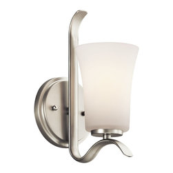 Kichler Lighting - Kichler Lighting Armida Transitional Wall Sconce X-IN47354 - This transitional wall sconce is a stunningly simple way to add upward light to any room. The simple but elegant design makes it perfect for nearly any room in your home, from living rooms to dining rooms, and especially hallways. The soft white shade gives a warm and inviting glow that is sure to transform the look of your space.