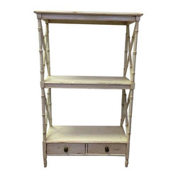 Pre-owned Three-Tier Bamboo Style Etagere - A three-tier bamboo style etagere with a distressed ivory finish. The shelf features two drawers with antique brass hardware. The white finished is distressed giving the piece a perfect vintage patina. This is a great storage piece for a bedroom or a bathroom.