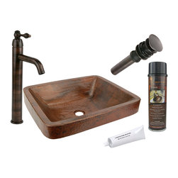 Premier Copper Products - Rectangle Skirted Vessel Sink w/ ORB Faucet - PACKAGE INCLUDES: