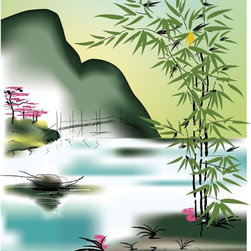 Wallmonkeys Wall Decals - Asian Theme Wall Mural - 42 Inches H - Easy to apply - simply peel and stick!