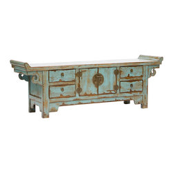 Low Sideboard - This unique and exotic sideboard will add Asian style to your home. Let it be the one distressed piece in the room that hogs a lot of attention!