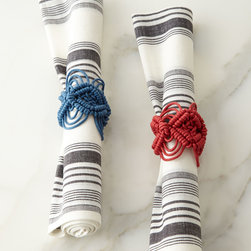 """Juliska - Macrame Napkin Ring - BLUE - JuliskaMacrame Napkin RingDetailsMade of cotton rope.Select color when ordering.Sold individually; each 2""""W x 2.5""""T.Imported.Designer About Juliska:Introduced by Dave and Capucine Gooding in 2001 the Juliska collection of elegant European-inspired tableware reflects the couple's appreciation for historical design. Beyond dinnerware flatware stemware and decorative tabletop accessories today the Juliska collection includes designs for the office and bath."""