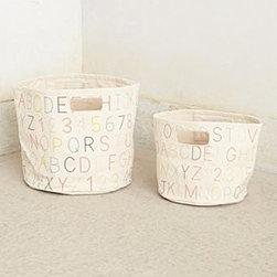 "Pehr - Alphabet Canvas Basket - By PehrCotton canvasSpot cleanSmall: 10""H, 9"" diameterMedium: 13""H, 12"" diameterImported"