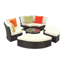 LexMod - Pursuit Circular Outdoor Wicker Rattan Sofa Set - Complete your circle with four distinct wedges of joy. Pursuit is a fun and ambitious set that tests the limits of conversation. Participants of Pursuit is encouraged to face each-other in an open dialogue that truly never ends. The set is comprised of woven UV resistant rattan and all-weather cushions. The aluminum frame is also powder-coated for added protection against the elements. Playful and engaging, gather greater circles of friends, family and acquaintances into this set perfect for patios, pool areas, resorts and other outdoor spaces.