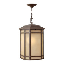 Hinkley Lighting - CherryCreek Hanger Outdoor - Cherry Creek's modern take on the popular Arts and Crafts style has a timeless appeal. The cast aluminum construction is enhanced by the warmth of the finish and the vintage-looking glass.