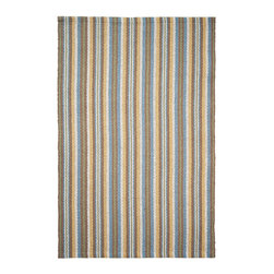 Hook & Loom Rug Company - Hinsdale Stripe Eco Cotton Rug - Very eco-friendly rug, hand-woven with yarns spun from 100% recycled fiber.  Color comes from the original textiles, so no dyes are used in the making of this rug.  Made in India.