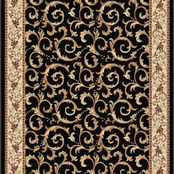Tayse Rugs - Elegance Black and Red Rectangular: 5 Ft. x 7 Ft. Rug - - Scrollwork interior with floral border makes this rug a perfect companion to traditional or transitional d�cor. In classic colors that are always in fashion. Black with ivory and gold. Made of soft polypropylene that is easy to clean. Vacuum and spot clean.  - Square Footage: 35  - Pattern: Oriental  - Pile Height: 0.39-Inch Tayse Rugs - 5403  Black  5x7
