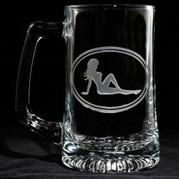 "Crystal Imagery, Inc - Mudflap Girl Beer Mug, Trucker Mudflaps Icon, Set of 4 - Seeking a cool gift for that special man in your life? Well it doesn't get much better than the iconic Trucker Mudflap Girl beer mug. This iconic symbol has been a favorite among men of many generations. We see it on t-shirts, trucker mud flaps, and so much more. Our beautifully carved version of the Mudflap Girl features the silhouette of a woman with an hourglass figure engraved deeply into your beer mug glass to create a stunning and classic gift for any man who appreciates the beauty of the female body as well as the finer things in life - like beer, of course. Let the good times roll! Our 5.75"" High, 3"" wide, 15 oz beer mug is dishwasher safe. SOLD AS A SET OF 4 BEER MUGS."