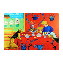 Caroline's Treasures - Airedale Terrier With Lady In The Kitchen Kitchen Or Bath Mat 24X36 - Kitchen or Bath COMFORT FLOOR MAT This mat is 24 inch by 36 inch.  Comfort Mat / Carpet / Rug that is Made and Printed in the USA. A foam cushion is attached to the bottom of the mat for comfort when standing. The mat has been permenantly dyed for moderate traffic. Durable and fade resistant. The back of the mat is rubber backed to keep the mat from slipping on a smooth floor. Use pressure and water from garden hose or power washer to clean the mat.  Vacuuming only with the hard wood floor setting, as to not pull up the knap of the felt.   Avoid soap or cleaner that produces suds when cleaning.  It will be difficult to get the suds out of the mat.