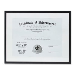 """Lawrence Frames - 11x14 Dual Use Black Aluminum Document Frame - Contemporary black aluminum dual use metal document frame.  Can be used for a 11"""" x 14"""" document without included matt, or for a 8.5"""" x 11"""" document with included matt. Wall only, not for tabletop use.  Comes with hardware for vertical or horizontal wall mounting. High quality metal picture frame is made with exceptional workmanship and comes individually boxed."""