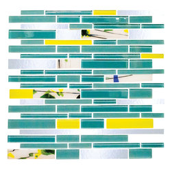 Teal Green Subway Tile - 1 sf Garden Party Series 3. A deep teal and chartreuse mix of frosted and glossy linear glass mosaic tiles are beautifully mixed with hand cut mirror and hand made glass tile in a floral motif. A perfect backsplash or vertical accent wall.