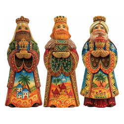 Set of Three Kings Artistic Wood Carved Sculpture - G. DeBrekht fine art traditional, vintage style sculpted figures are delightful and imaginative. Each figurine is artistically hand-painted with detailed scenes including classic Christmas art, winter wonderlands and the true meaning of Christmas, nativity art. In the spirit of giving G.DeBrekht holiday decor makes beautiful collectible Christmas and holiday gifts to share with loved ones. Every G. DeBrekht holiday decoration is an original work of art sure to be cherished as a family tradition and treasured by future generations. Some items may have slight variations of the decoration on the decor due to the hand painted nature of the product. Decorating your home for Christmas is a special time for families. With G. DeBrekht holiday home decor and decorations you can choose your style and create a true holiday gallery of art for your family to enjoy.