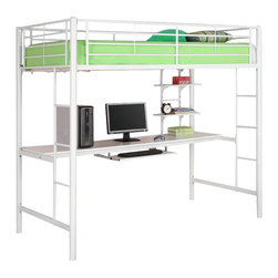 Walker Edison - Walker Edison Sunrise Metal Workstation Twin Loft Bunk Bed in White - Walker Edison - Bunk Beds - BTOZWH - Elegance and function combine to give this contemporary bunk bed a striking appearance. The design gives a stylish modern look crafted with durable steel framing. Designed with safety in mind the bed includes full length guardrails and a sturdy integrated ladder. Great for any space-saving design needs.