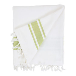 Nine Space - Nine Space Ayrika Green Ocean Terry Oversize Fouta Towel - Nine Space Ayrika Green Ocean Terry Oversize Fouta TowelTalk about versatility! The Ayrika Green Ocean Terry Oversize Fouta Towel from Nine Space can be used as a beach towel, a bath towel, a table linen, or even a throw. One side features woven cotton that repels sand, while the other side is lined with soft and absorbent terry cotton. Stripe detailing in spring green gives it a fresh look that can go hip in an eclectic space or charming in a country cottage. Plus, each fouta is large enough to fit two people or to cover a generous table. Now that's how to do form and function right.Woven cotton on one side; terry cotton on the reverseMade in Turkey