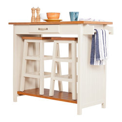 "Southern Enterprises - Southern Enterprises Three Piece Nantucket Breakfast Set in Honey-Pine - Southern Enterprises - Dining Sets - DN1439R - Honey pine accents the off white base to create a casual and welcoming breakfast set. Perfect for any breakfast nook sunroom or child's room the stools neatly store beneath the table for a clutter free convenience. A single drawer adds storage for silverware and placemats while the side towel bar makes sure clean up is a snap. This fun table set includes two 24"" stools and the charming table all in one. Add this versatile and fun breakfast set to your home and start enjoying it today."