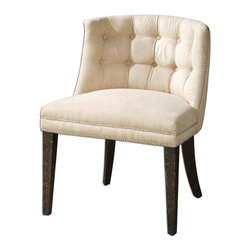 """Uttermost - Trixie Tufted Slipper Chair - Velvety Smooth, Cream Brushed Fabric Is Button Tufted And Accented With A Double Row Of Steel Nails. White Mahogany Frame Is Crafted With Double Doweled Joinery And Finished In Antiqued Black, Mottled With Natural Wood Undertones. Seat Height Is 20.5""""; Collection: Trixie; Designer: Carolyn Kinder; Material: Wood, Foam, Fabric; Finish: Velvety Smooth, Cream Brushed Fabric Is Button Tufted And Accented With A Double Row Of Steel Nails. White Mahogany Frame Is Crafted With Double Doweled Joinery And Finished In Antiqued Black Mottled With Natural Wood Undertones.; Bulb not included.; Dimensions: 25""""D x 24""""W x 31""""H; Uttermost's Accent Chairs Combine Premium Quality Materials With Unique High-style Design.; With The Advanced Product Engineering And Packaging Reinforcement, Uttermost Maintains Some Of The Lowest Damage Rates In The Industry. Each Product Is Designed, Manufacturered And Packaged With Shipping In Mind."""