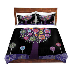 DiaNoche Designs - Duvet Cover Twill - Purple Tree - Lightweight and super soft brushed twill Duvet Cover sizes Twin, Queen, King.  This duvet is designed to wash upon arrival for maximum softness.   Each duvet starts by looming the fabric and cutting to the size ordered.  The Image is printed and your Duvet Cover is meticulously sewn together with ties in each corner and a concealed zip closure.  All in the USA!!  Poly top with a Cotton Poly underside.  Dye Sublimation printing permanently adheres the ink to the material for long life and durability. Printed top, cream colored bottom, Machine Washable, Product may vary slightly from image.
