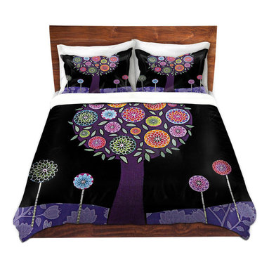 DiaNoche Designs - Duvet Cover Twill - Purple Tree - Lightweight and soft brushed twill Duvet Cover sizes Twin, Queen, King.  SHAMS NOT INCLUDED.  This duvet is designed to wash upon arrival for maximum softness.   Each duvet starts by looming the fabric and cutting to the size ordered.  The Image is printed and your Duvet Cover is meticulously sewn together with ties in each corner and a concealed zip closure.  All in the USA!!  Poly top with a Cotton Poly underside.  Dye Sublimation printing permanently adheres the ink to the material for long life and durability. Printed top, cream colored bottom, Machine Washable, Product may vary slightly from image.