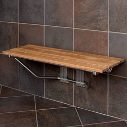 "36"" Folding Teak Shower Seat - Safety and comfort are features of the 36"" Folding Teak Wood Shower Seat. Easily fold this natural teak shower seat up for extra space when not in use."
