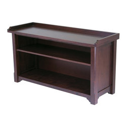 Winsome Wood - Winsome Wood Milan Bench with Storage Shelf with Antique Walnut Finish X-04649 - This bench features two shelves for convenient storage.  Change the look of this bench by adding to the bottom section baskets for extra storage.  Made of Beechwood in antique walnut stain.  Assembly Required