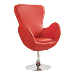 Coaster - Coaster Leisure Swivel Chair in Red - Coaster - Club Chairs - 902101 - This swivel leisure chair has a fun-loving attitude with a sophisticated look. Crafted to create a relaxed atmosphere this unique chair features a modern style with a metal swivel base and smooth pulled upholstery. The tightly styled frame creates a modern edginess while a soft seat cushion adds supportive comfort. Use this piece in casual living rooms bedrooms dorms and offices for a stylish piece with a fun and classy look.