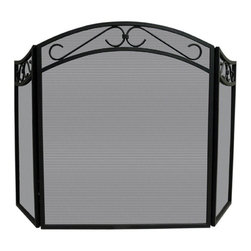 Uniflame - Wrought Iron Fireplace Screen w Scroll Design - Fireplace Screen has elegant base design and delightful accents!  Excels in your home, and it also folds easily enough to take on a road trip!  Affordable and efficient, you'll also like this item's robust details.  Each panel of screen features delicate scrollwork for a refined sense of style.  Provide your flooring extra protection against sparks and embers. * Stylish Screen is Functional and Attractive. Maintains Fireplace Safety. Allows For Ease and Comfort with Fireplace Maintenance. 51.5 in. W x 31 in. H
